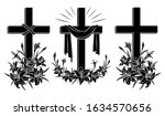 Cross With Lilies. Religious...