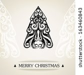 vintage merry christmas card | Shutterstock .eps vector #163460843