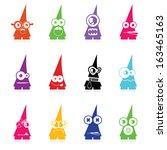 set of twelve color monsters... | Shutterstock .eps vector #163465163