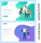 working task vector  man and... | Shutterstock .eps vector #1634670769
