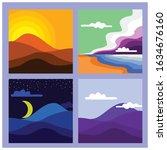 minimalist landscape color... | Shutterstock .eps vector #1634676160
