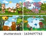 set of various animals in... | Shutterstock .eps vector #1634697763