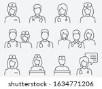 doctor and nurse line icons.... | Shutterstock .eps vector #1634771206