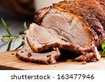 roasted shoulder on a cutting... | Shutterstock . vector #163477946