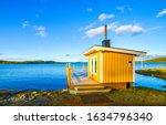 Lake yellow cabin scene view....