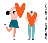 man and woman hold big hearts.... | Shutterstock .eps vector #1634851390