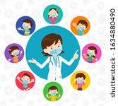 doctor and children wear a... | Shutterstock .eps vector #1634880490