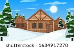 Scene With Wooden Cottage And...