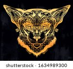 vintage beautiful cat or lynx... | Shutterstock .eps vector #1634989300