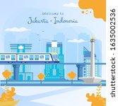 flat illustration of jakarta... | Shutterstock .eps vector #1635002536