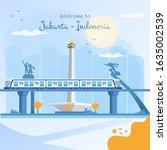welcome to jakarta  flat... | Shutterstock .eps vector #1635002539