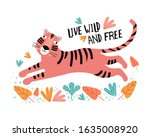 funny tiger in tropical leaves. ...   Shutterstock .eps vector #1635008920