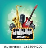 music concert illustrated in... | Shutterstock .eps vector #1635044200