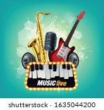music concert illustrated in... | Shutterstock .eps vector #1635044200