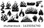 set of flame and fire in... | Shutterstock .eps vector #1635056740