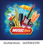 beach party with live music in... | Shutterstock .eps vector #1635063190