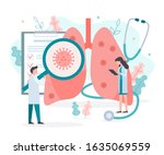 doctor checking the lungs for... | Shutterstock .eps vector #1635069559