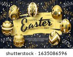 happy easter background with... | Shutterstock .eps vector #1635086596