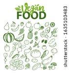 vegan food raster  watermelon... | Shutterstock . vector #1635103483