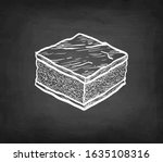 chocolate brownie. chalk sketch ... | Shutterstock .eps vector #1635108316