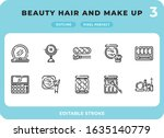 beauty hair and make up outline ...