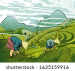 illustration of farmers... | Shutterstock .eps vector #1635159916