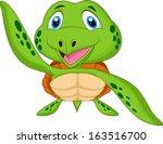 cute sea turtle cartoon   Shutterstock . vector #163516700