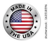 made in the usa silver badge... | Shutterstock .eps vector #163518596