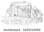 coil tubing roll truck. eps10... | Shutterstock .eps vector #1635216403