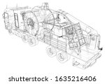 wire frame line truck isolated... | Shutterstock .eps vector #1635216406