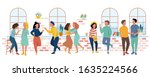 students talking at an event.... | Shutterstock .eps vector #1635224566