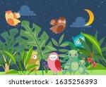 cute cartoon owls in night... | Shutterstock .eps vector #1635256393