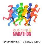 running marathon poster with... | Shutterstock .eps vector #1635274390