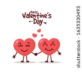 two happy hearts character on...   Shutterstock .eps vector #1635330493