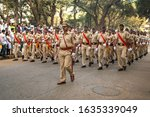 Small photo of Mumbai ,26 January,2020: March Past by Maharashtra State Excise Police in uniform on 71st Republic Day of India celebrations at Shivaji Park Dadar, Mumbai ,Maharashtra ,India , Asia