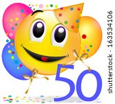 smiley with balloons  having a... | Shutterstock . vector #163534106