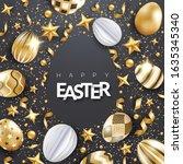 easter vector black background... | Shutterstock .eps vector #1635345340