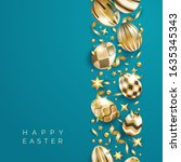 easter blue background with... | Shutterstock .eps vector #1635345343