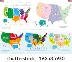 united states detailed maps set | Shutterstock .eps vector #163535960