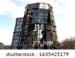 Old Burned Out Chimney With...