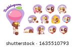 funny sweet tooth cat stickers... | Shutterstock .eps vector #1635510793