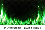 realistic green fire border ... | Shutterstock .eps vector #1635545896
