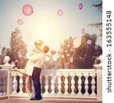 joyful emotional meeting the... | Shutterstock . vector #163555148