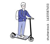 young man riding kick scooter.... | Shutterstock .eps vector #1635587653