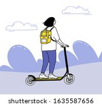 young woman riding on electric... | Shutterstock .eps vector #1635587656