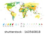 political world map with... | Shutterstock .eps vector #163560818