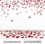 falling red rose petals...   Shutterstock .eps vector #1635608380