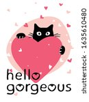 valentine's day card with cute...   Shutterstock .eps vector #1635610480