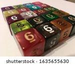 Multi colored dice d6 background