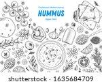 hummus cooking and ingredients... | Shutterstock .eps vector #1635684709